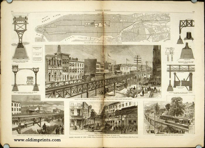 """Harper's Weekly. COMPLETE ISSUE, including centrefold Rapid Transit in New York and Front cover illustration: For the Good of the People. Mr. Mercury (God of Trade, to Goddess of Wisdom). """"I say, Miss Minerva, just put up your Shutters, so that I. NEW YORK / RAILROAD / THOMAS NAST."""