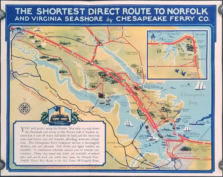 Colonial Virginia Direct Ferry Routes North & South Across Historic Hampton Roads. (Map title: The Shortest Direct Route to Norfolk and Virginia Seashore by Chesapeake Ferry Co.). VIRGINIA.