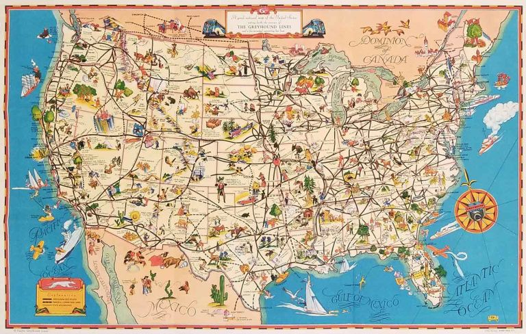 A Good Natured Map of the United States - and a guide to the Wonderful West. Compliments of Greyhound and Union Pacific Stages. UNITED STATES.