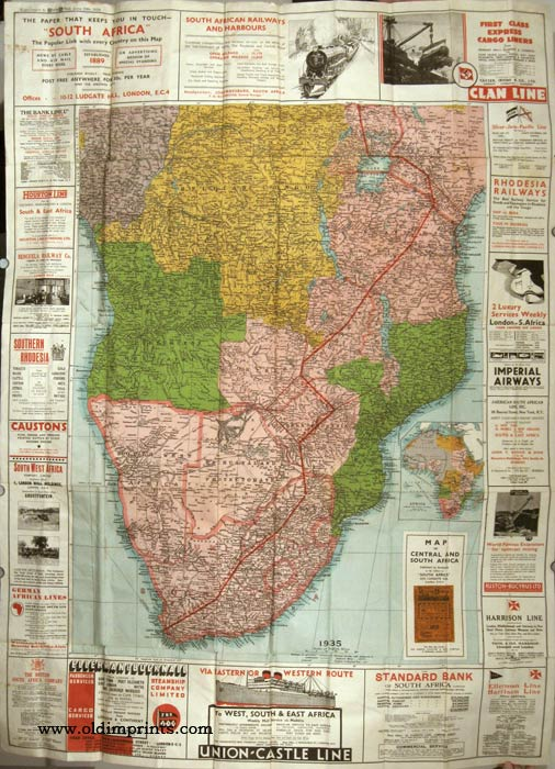Map of Central and South Africa. AFRICA / AVIATION / RAILWAYS.