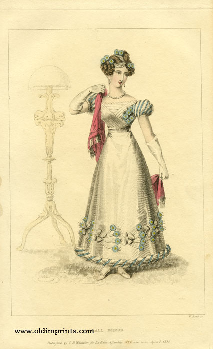 Ball Dress. 1820s FASHION.