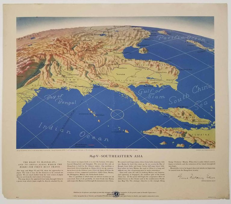 Map VII - The North Pacific, Map VI - The Southwest Pacific, Map V - Southeastern Asia, Map IV - The Western Front, Map III - Italy & South France. Lot of Five Maps. WORLD WAR II.