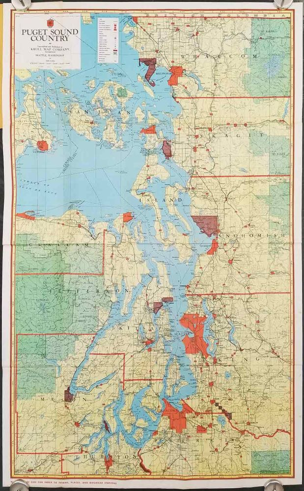 Kroll's Map of Puget Sound Country. Map title: Puget Sound Country. WASHINGTON - PUGET SOUND circa 1940.