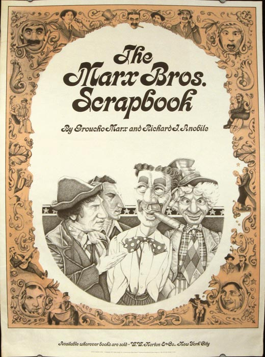 The Marx Bros. Scrapbook by Groucho Marx and Richard J. Anobile. MARX BROTHERS POSTER 1973.