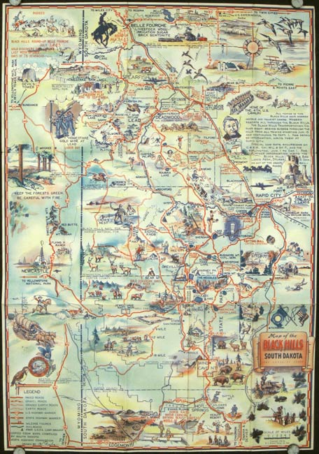 Map of the Black Hills of South Dakota. The Sunshine State | SOUTH ...