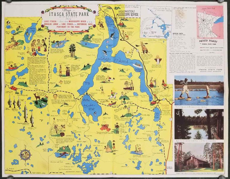 Map Itasca State Park Minnesota Showing Lake Itasca - Source of the Mississippi River - Douglas Lodge on Lake Itasca - Historical Data Pertinent to the Park. MINNESOTA - ITASCA STATE PARK.
