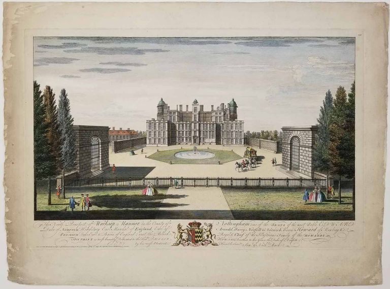 The North Prospect of Worksop Mannor, in the County of Nottingham, one of the Seats of the most Noble Edward Duke of Norfolk; Hereditary Earle Marshal of England; Earl of Arundel, Surry, Norfolk & Norwich; Baron Howard of Mowbray &c. ENGLAND - NOTTINGHAM - CASTLES.