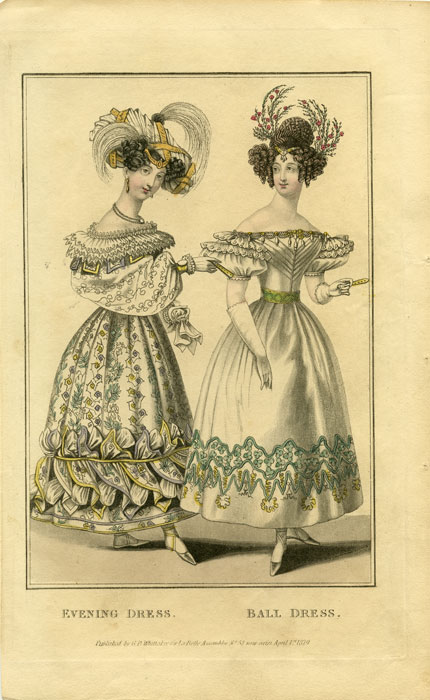 Evening Dress. Ball Costume. 1820s FASHION.