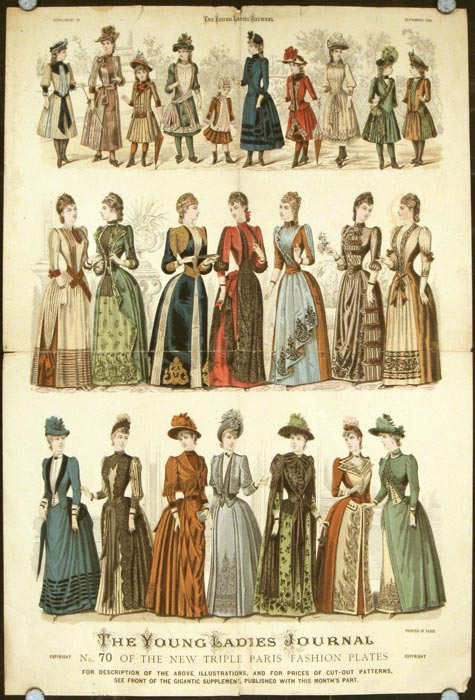 """Supplement to The Young Ladies' Journal, September 1889. No. 70 of the New Triple Paris Fashion Plates. 1880s FASHION - """"GIGANTIC SUPPLEMENT"""""""