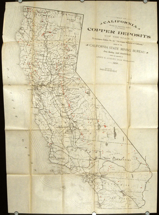 "Map of California Showing the Approximate Location of the Principal Copper Deposits of the State. To Accompany Bulletin No. 50, ""The Copper Resources of California,"" Issued by the California State Mining Bureau. CALIFORNIA - COPPER."
