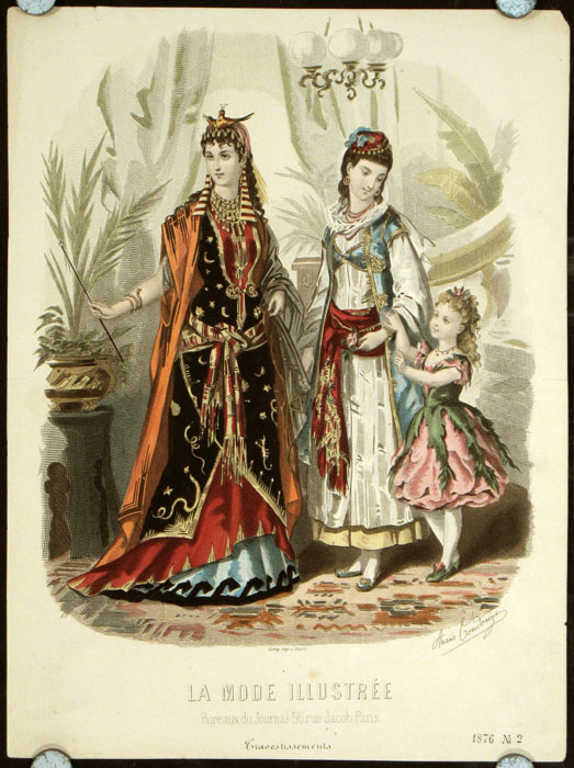 Hand colored engraving from La Mode Illustree. Cravestissements. 1870s FASHION.