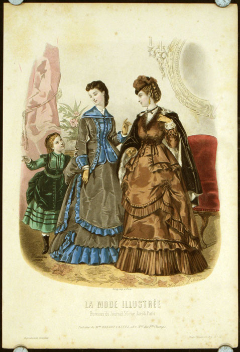 Hand colored engraving from La Mode Illustree. Toilettes de Mme. Breant-Castel, 28.r. Nue des Pts Champs. 1870s FASHION.
