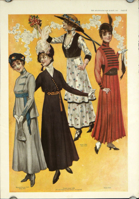 Pair of color fashion illustrations from The Delineator magazine, March, 1915
