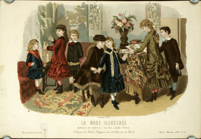 Hand colored engraving from La Mode Illustree. Costumes des Grands Magasins du Louvre rue de Rivoli. 1880s FASHION - CHILDREN WITH BOOKS, TOYS.