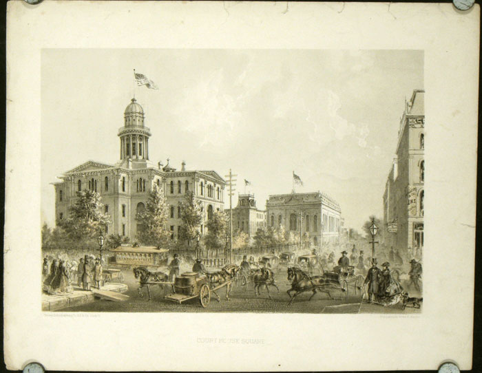 """Court House Square. [ORIGINAL PRINT from """"Chicago Illustrated""""]. ILLINOIS - CHICAGO - ARCHITECTURE."""
