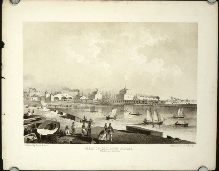 """Great Central Depot Grounds. With Entrance to Harbor. [ORIGINAL PRINT from """"Chicago Illustrated""""]. ILLINOIS - CHICAGO."""