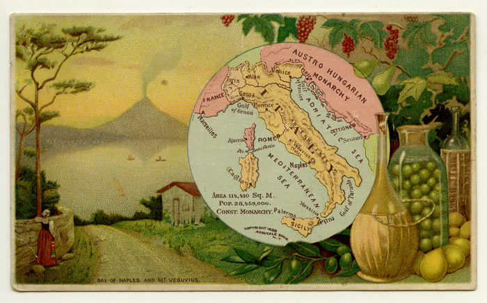 Italy. Arbuckle Bros. Coffee Co. trade card: map and vignette illustrations. ITALY.