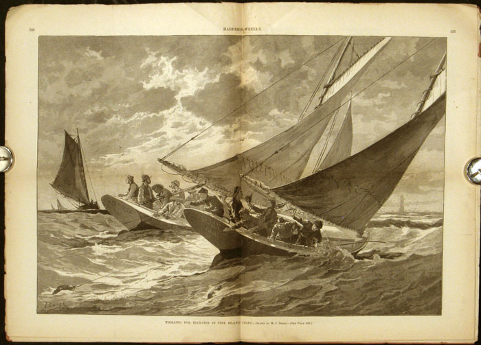 Trolling for Blue-Fish in Fire Island Inlet. In COMPLETE ISSUE of Harper's Weekly magazine, July 13, 1889. FISHING.