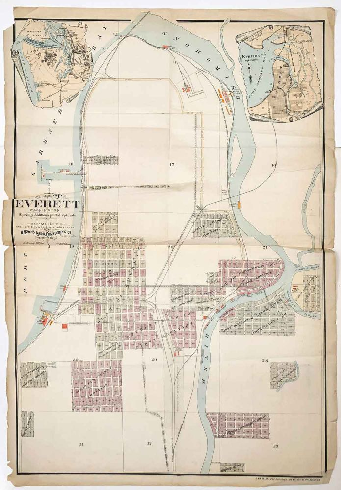 Map of Everett Washington Showing Additions Platted up to date. WASHINGTON STATE - EVERETT CA 1895, compiled from official, original, Brown's Land, Engineering Co.