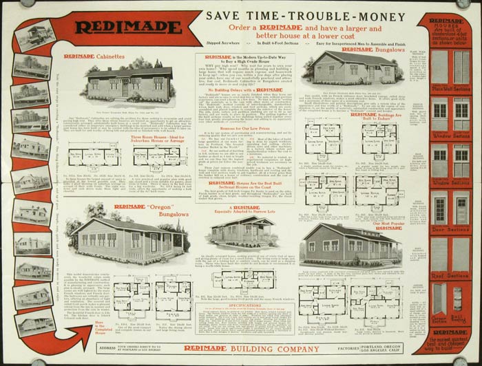 Redimade Sectional Houses and Garages. 1920s HOUSE PLANS.