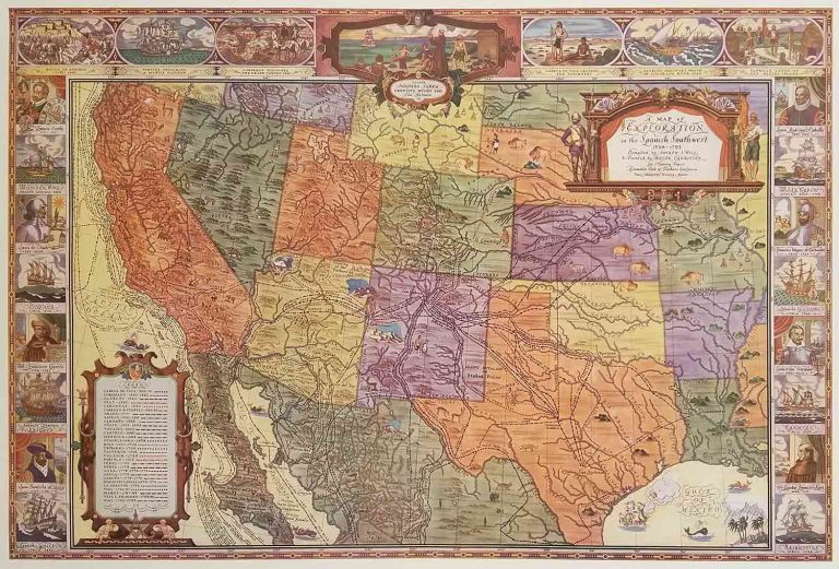 A Map of Exploration in the Spanish Southwest 1528 - 1793. SOUTH WEST, Joseph J. Hill.