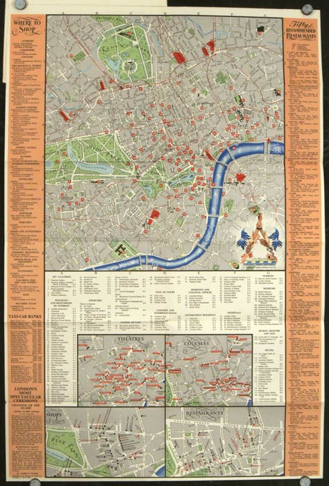 London Choice Map. Including individual maps of Theatres Restaurants Cinemas Exclusive Shops & The Underground. Illustrated in Full Color. ENGLAND - LONDON.