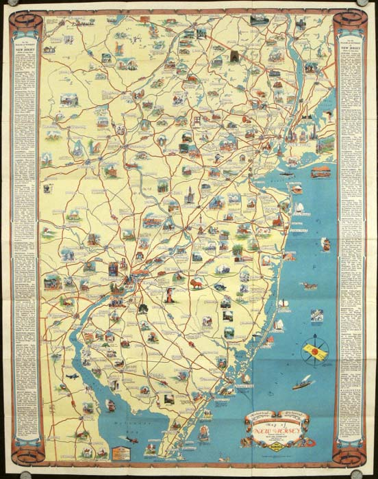 Sunoco Road Map of New Jersey. Map titles: Historical Pictorial Points of Interest Map of New Jersey. / Sunoco Auto Road Map of New Jersey. NEW JERSEY.