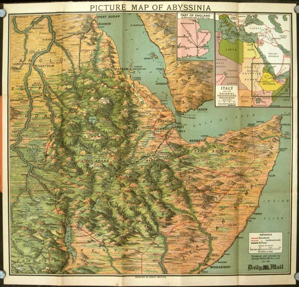 Daily Mail Picture Map of Abyssinia. AFRICA - ETHIOPIA.