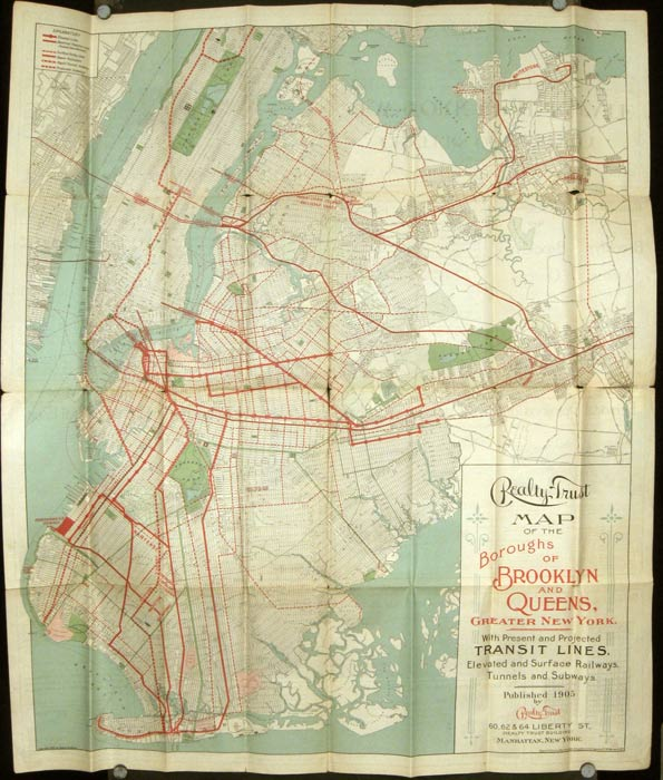 Realty Trust Map of Brooklyn and Queens Boroughs Greater New York. 1905. Map title: Realty Trust Map of the Boroughs of Brooklyn and Queens, Greater New York. With Present and Projected Transit Lines, Elevated and Surface Railways, Tunnels and Subways. NEW YORK - BROOKLYN - QUEENS - REAL ESTATE.