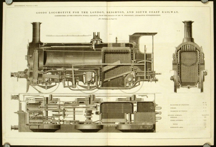 Goods Locomotive for the London, Brighton, and South Coast Railway. Constructed at the Company's Works, Brighton, From the Designs of Mr. W. Stroudley, Locomotive Superintendent. LOCOMOTIVES - UNITED KINGDOM.