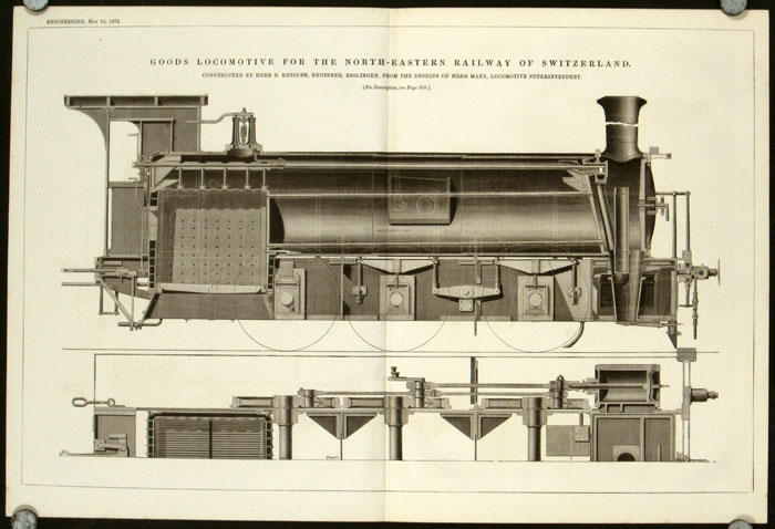 Goods Locomotive for the North-Eastern Railway of Switzerland. Constructed by Herr E. Kessler, Engineer, Esslingen, from the Designs of Herr Maey, Locomotive Superintendent. LOCOMOTIVES - SWITZERLAND.