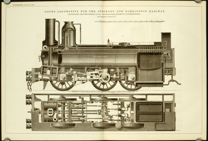 Goods Locomotive for the Stockton and Darlington Railway. Constructed from the Designs of Mr. William Bouch, Locomotive Superintendent. LOCOMOTIVES - UNITED KINGDOM.