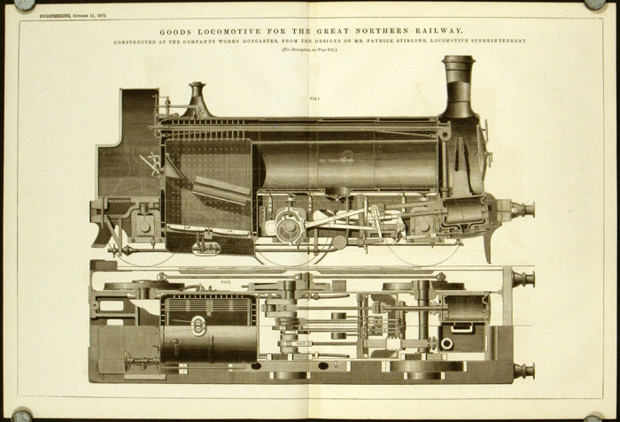 Goods Locomotive for the Great Northern Railway. Constructed at the Company's Works Doncaster, from the Designs of Mr. Patrick Stirling, Locomotive Superintendent. LOCOMOTIVES - U. S. A.
