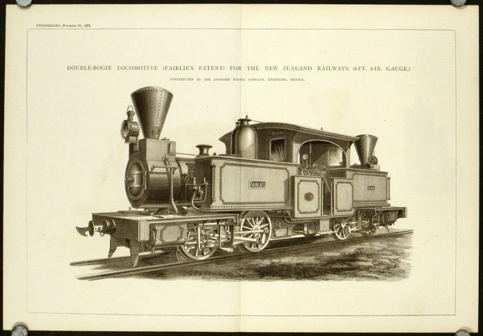 Double-Bogie Locomotive (Fairlie's Patent) for the New Zealand Railways (3-Ft. 6-In. Gauge). Constructed by the Avonside Engine Company, Engineers, Bristol. LOCOMOTIVES - NEW ZEALAND.