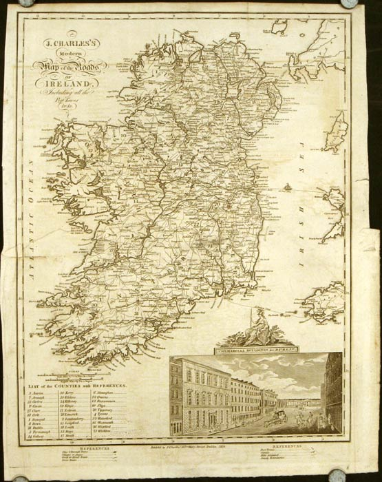 J. Charles's Modern Map of the Roads of Ireland Including all the Post Towns. IRELAND.