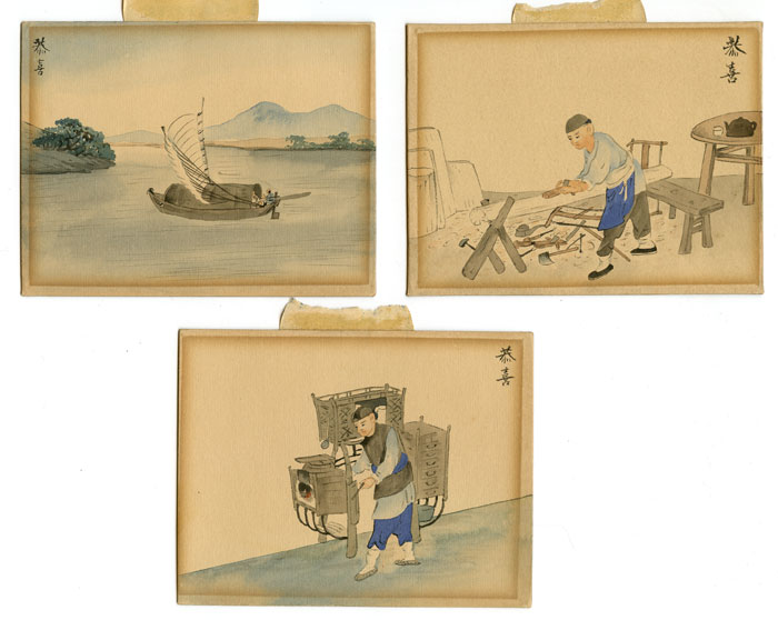 Untitled Chinese watercolor paintings. Set of three. CHINA - TRADES.