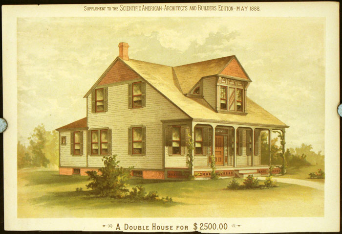 A Double House for $2500.00. AMERICAN VICTORIAN ARCHITECTURE / CHROMOLITHOGRAPH.