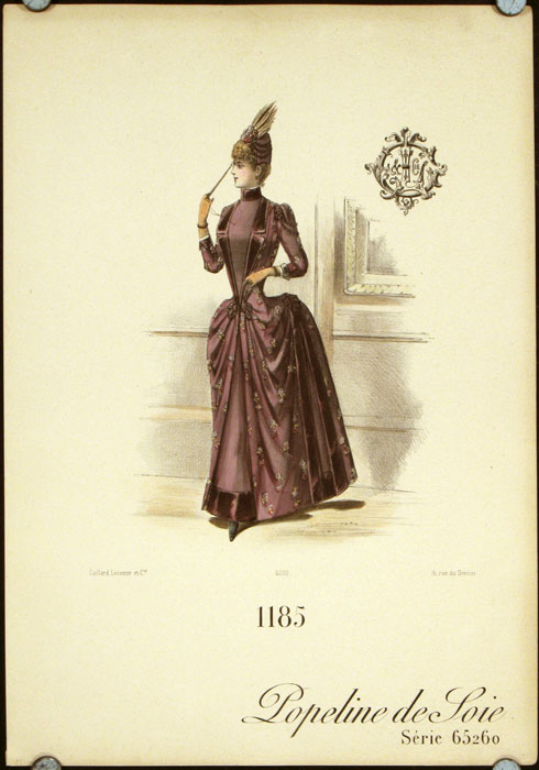 1185 Popeline de Soie Serie 65260 (Handcolored fashion lithograph from the Gaillard, Lecomte company). 1880s FASHION - FRANCE.