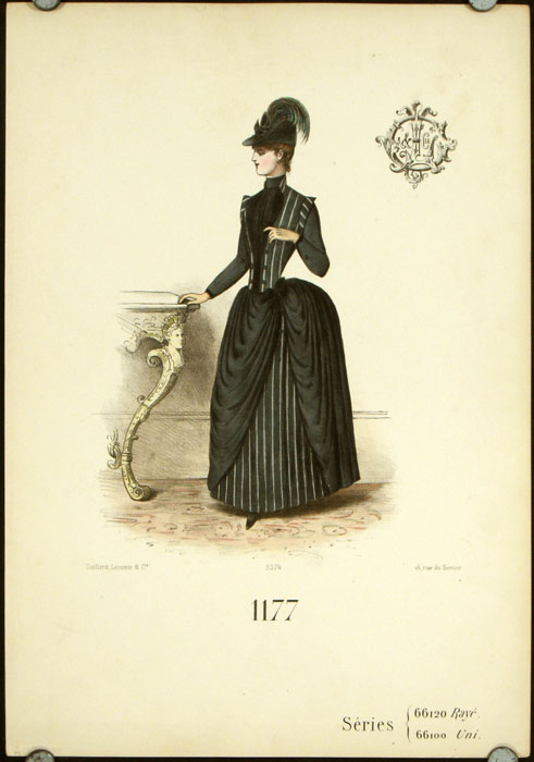1177 Series 66120 Raye 66100 Uni. (Handcolored fashion lithograph from the Gaillard, Lecomte company). 1880s FASHION - FRANCE.