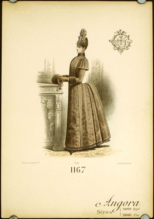 1167 Angora Series 24960 Raye 24940 Uni. (Handcolored fashion lithograph from the Gaillard, Lecomte company). 1880s FASHION - FRANCE.