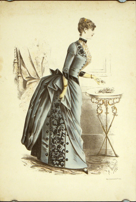 Handcolored fashion lithograph from the Lemercier Cie company. 1880s FASHION - FRANCE.