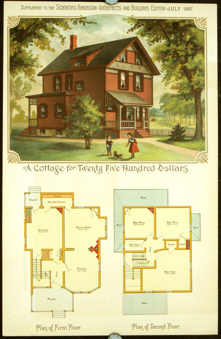A Cottage for Twenty Five Hundred Dollars. AMERICAN VICTORIAN ARCHITECTURE / CHROMOLITHOGRAPH.