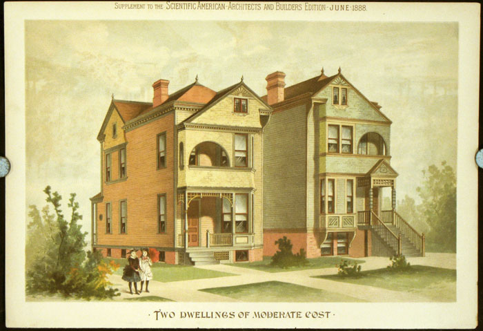 Two Dwellings of Moderate Cost. AMERICAN VICTORIAN ARCHITECTURE / CHROMOLITHOGRAPH.