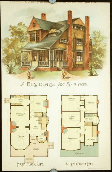 A Residence for $3,800. AMERICAN VICTORIAN ARCHITECTURE / CHROMOLITHOGRAPH.