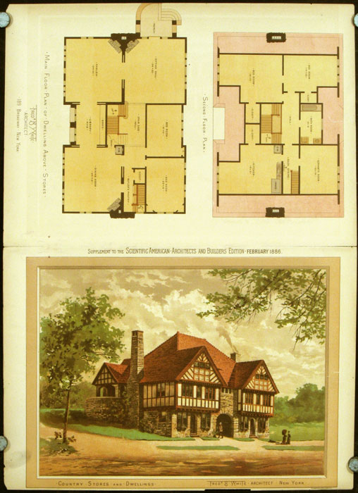 Country Stores and Dwellings. Fredk. B. White Architect New York. AMERICAN ARCHITECTURE / CHROMOLITHOGRAPH.