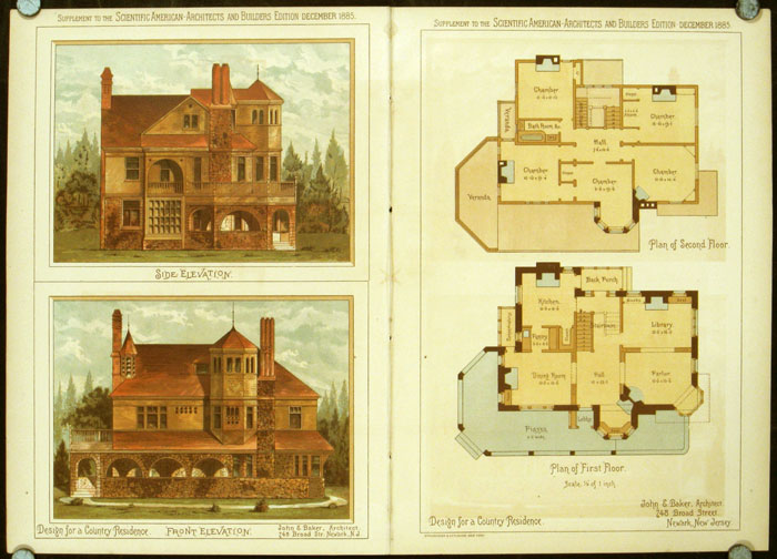 Design for a Country Residence. John E. Baker, Architect. AMERICAN ARCHITECTURE / CHROMOLITHOGRAPH.