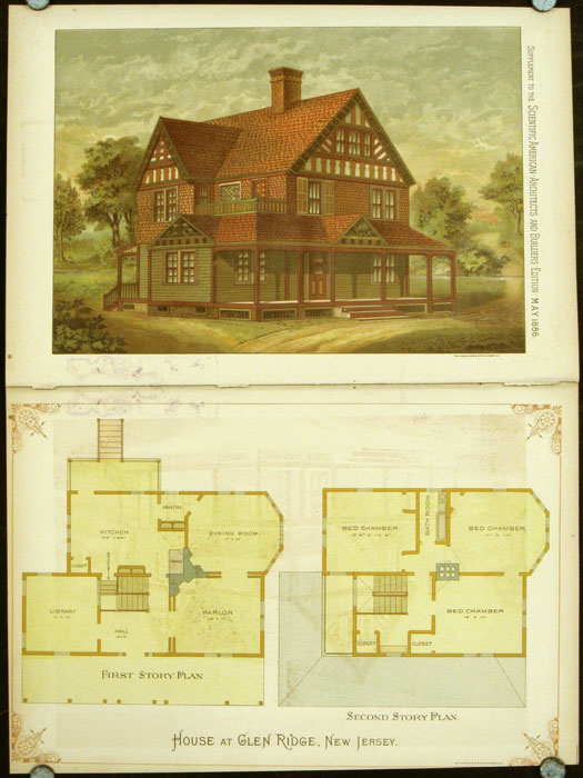 House at Glen Ridge, New Jersey. AMERICAN ARCHITECTURE / CHROMOLITHOGRAPH.