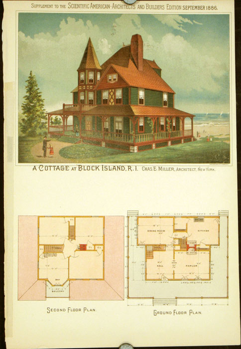 A Cottage at Block Island, R.I. Chas. E. Miller, Architect, New York. AMERICAN VICTORIAN ARCHITECTURE / CHROMOLITHOGRAPH.
