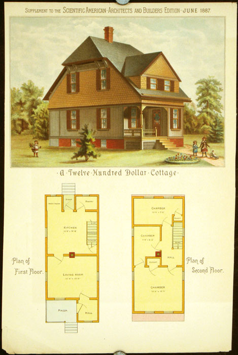 A Twelve Hundred Dollar Cottage. AMERICAN VICTORIAN ARCHITECTURE / CHROMOLITHOGRAPH.