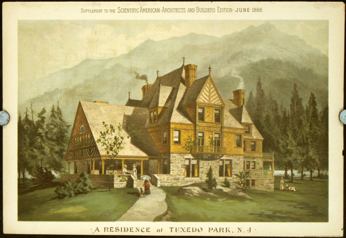 A Residence at Tuxedo Park, N. J. AMERICAN VICTORIAN ARCHITECTURE / CHROMOLITHOGRAPH.